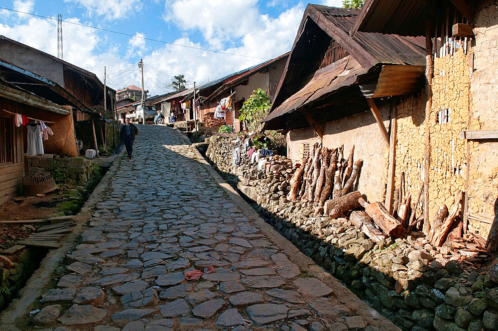 cobbled streets and old architecture in Phongsaly, Laos