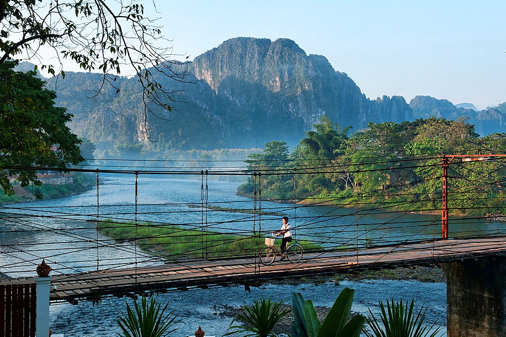 bridge over the Nam Song River in Vang Vieng, Laos