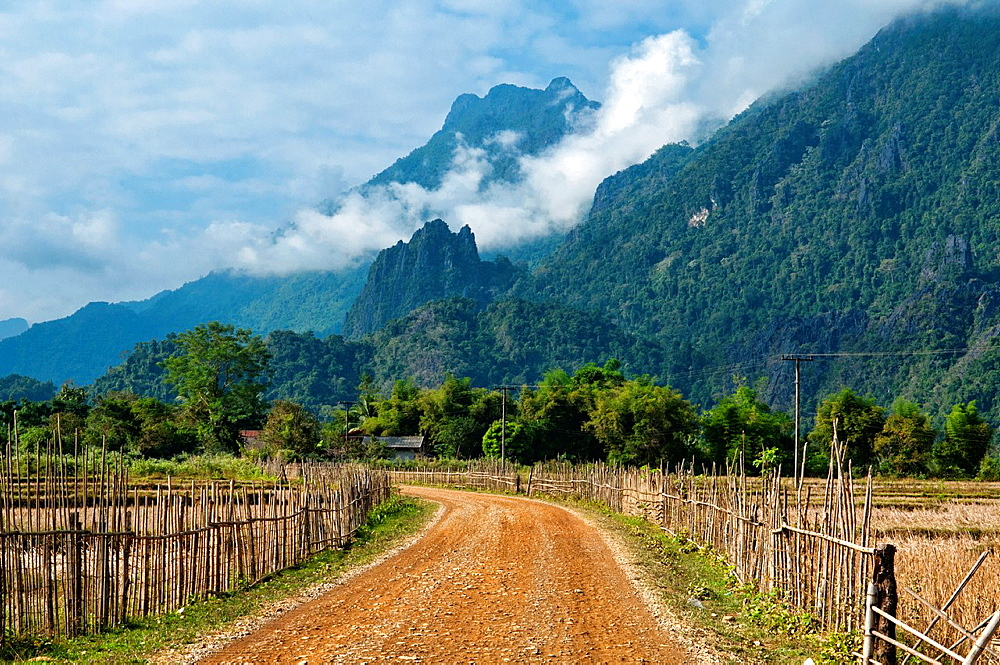 rural mountain scenery in Vang Vieng, Laos