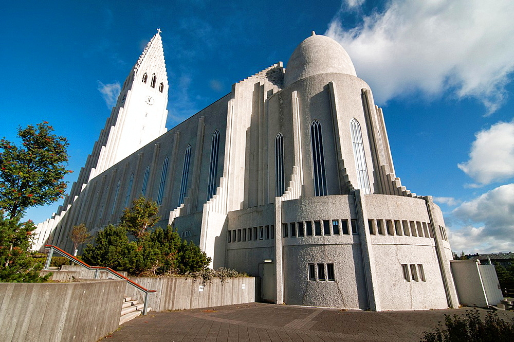 The imposing Hallgramskirkja Church, symbol of Reykjavik, Iceland