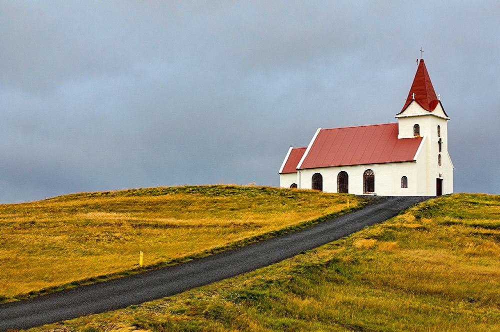 the old Lutheran church of Ingjaldsholl, near Snaefellsnes, west Iceland