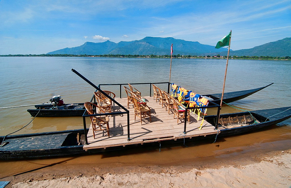 rustic ferry on the Mekong River in Laos