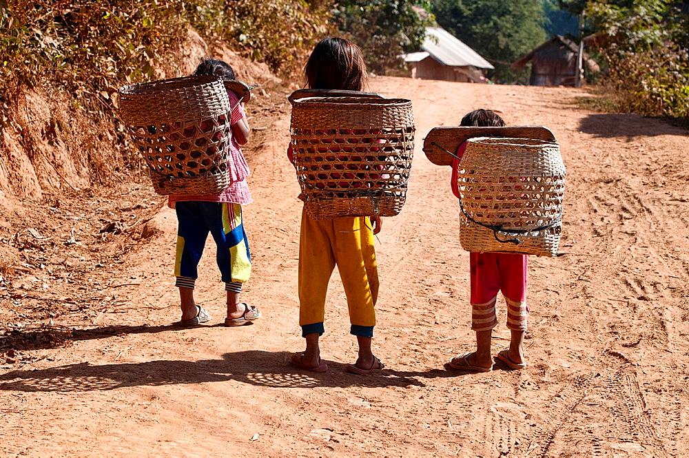 Akha girls and their bamboo baskets, Muang Singh, Laos