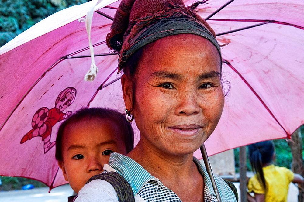 Hmong woman and her baby, Luang Prabang, Laos