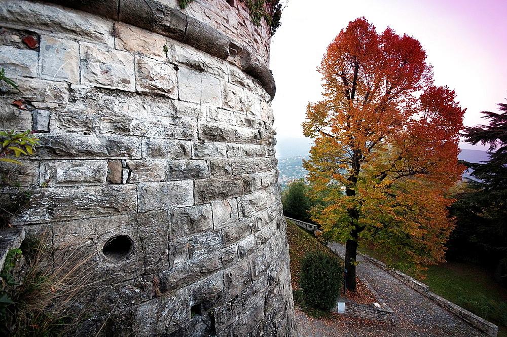 Italy, Lombardy, Bergamo, Citta Alta High Town, San Vigilio Castle at Sunset