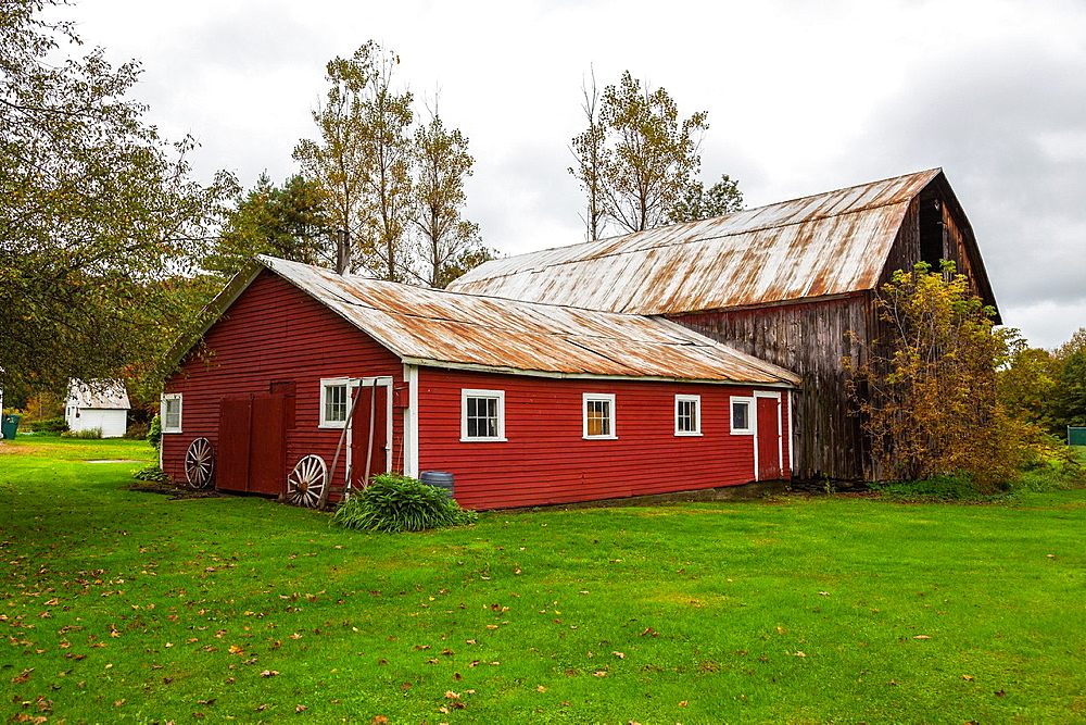 Picturesque red barn in East Bethel in Vermont, USA