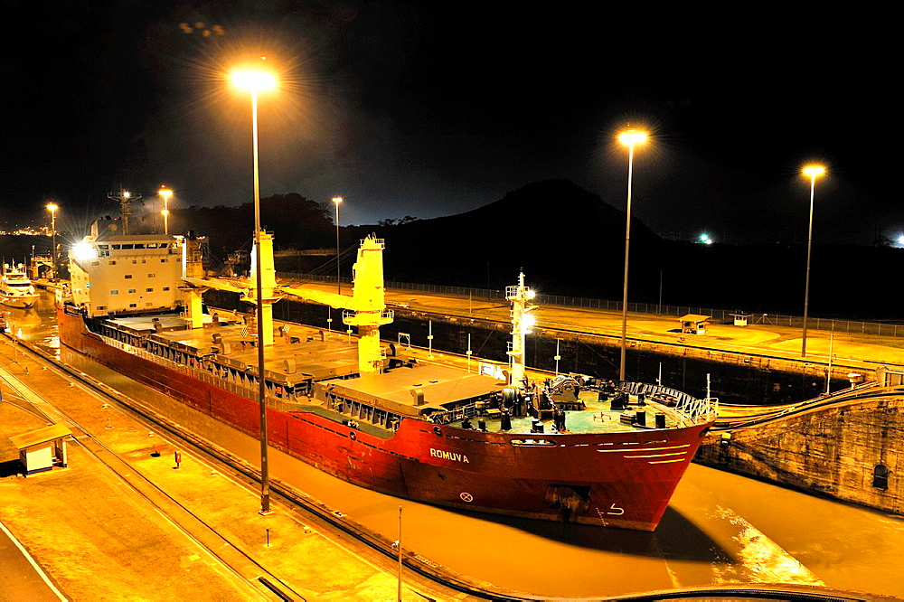 Miraflores Panama Canal locks by night, Republic of Panama, Central America