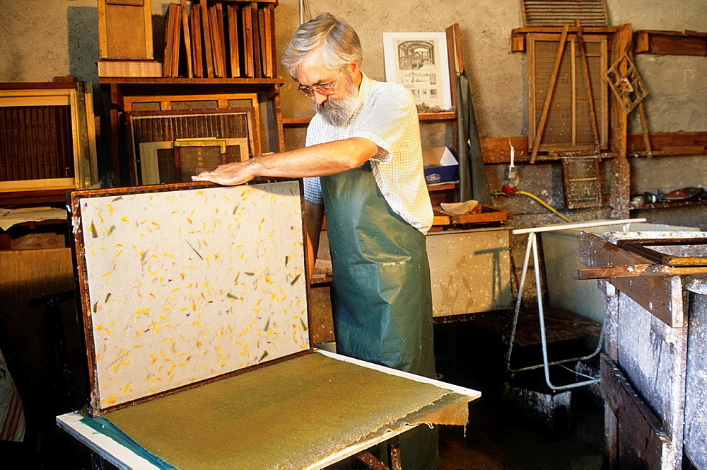 traditional paper-making, workshop of Mr Gouy, Fontenoy-la-Joute, one of the Book Towns, Meurthe-et-Moselle department, Lorraine region, France, Europe