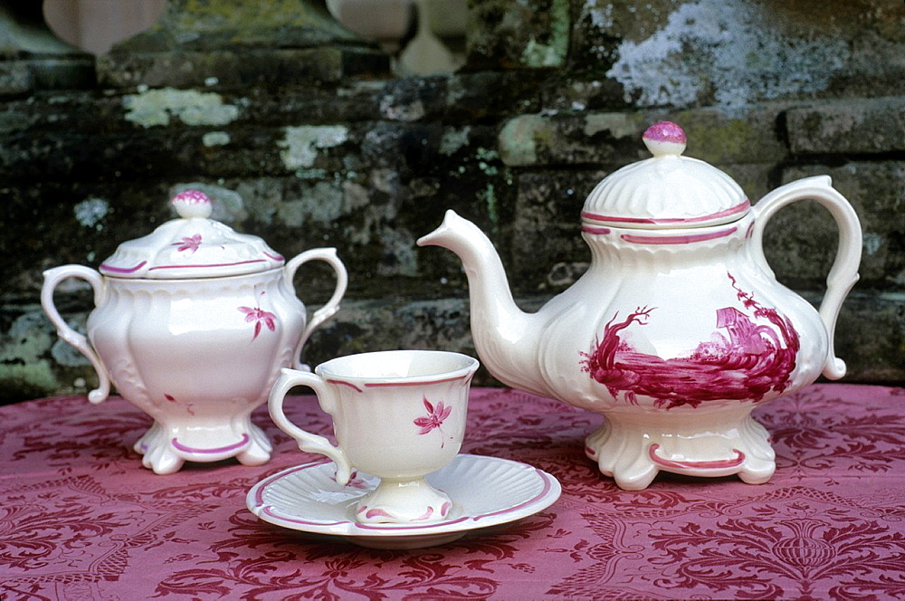 tea set made at the earthenware factory of Niderviller, Moselle department, Lorraine region, France, Europe