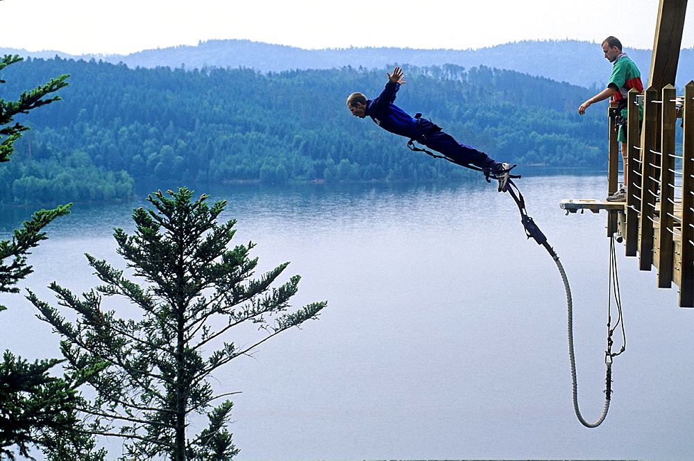 bungee jumping over the lake of Pierre-Percee, Meurthe-et-Moselle department, Lorraine region, France, Europe