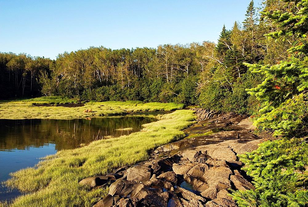 Saint-Lawrence River bank, Bonhomme Bouchard's cove, Ile aux Lievres, Saint-Laurent river, Quebec province, Canada, North America