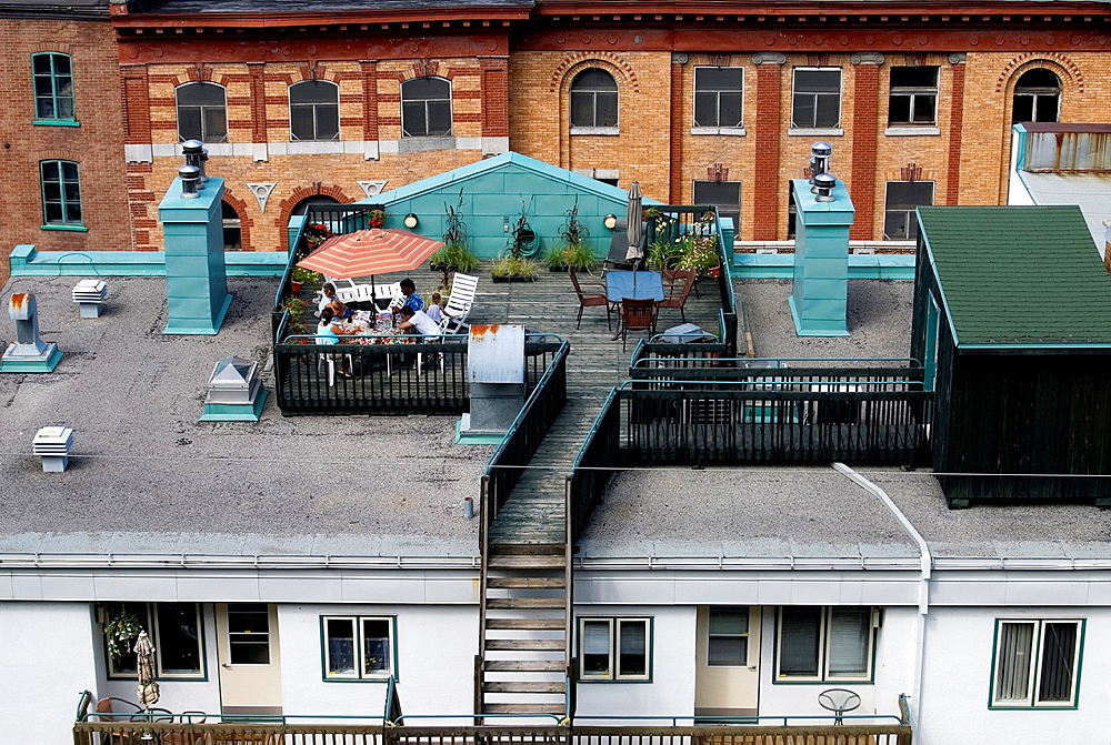 terrace on the roof of a building in the Lower Town, Quebec City, Quebec province, Canada, North America