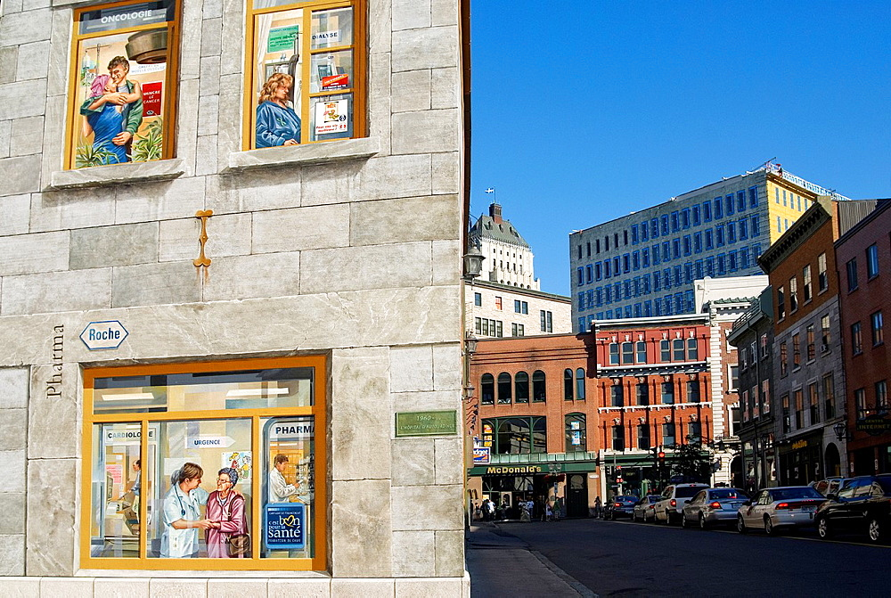 mural painting in trompe-l'oeil style, Upper-Town of Quebec City, Quebec province, Canada, North America