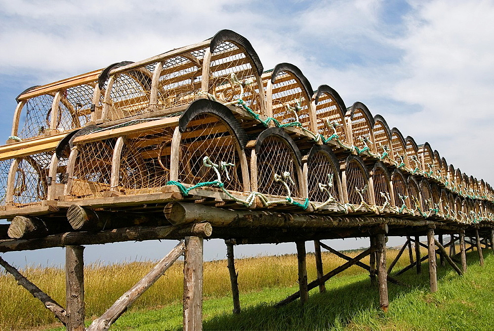 lobster pots, Cap aux Meules island, Magdalen Islands, Gulf of Saint Lawrence, Quebec province, Canada, North America