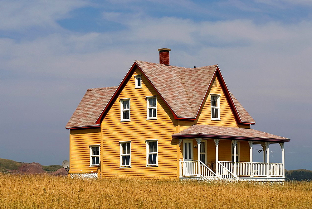 wooden house, Havre aux Maisons island, Magdalen Islands, Gulf of Saint Lawrence, Quebec province, Canada, North America