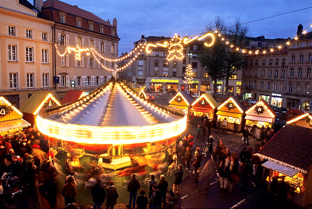 merry-go-round and Christmas market on Saint-Louis square, Saint Nicholas Day, Metz, Moselle department, Lorraine region, France, Europe