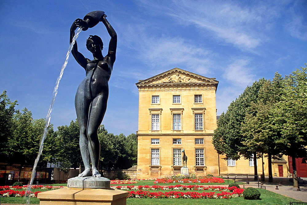 fountain, sculpture, named La Source, by Charles Petre 1828-1907 in front of the law court palace, Metz, Moselle department, Lorraine region, France, Europe