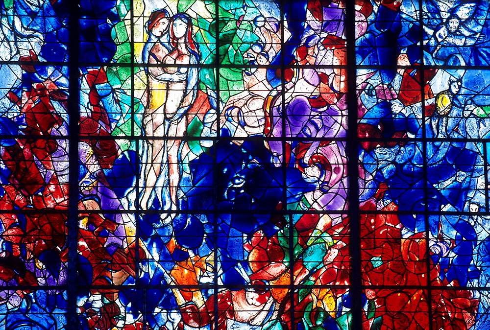 The Peace, stained-glass window by Marc Chagall, Master glazier Charles Marq, Chapel of Cordeliers, Sarrebourg, Moselle department, Lorraine region, France, Europe