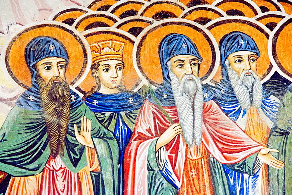 Frescos of Zahari Zograf, 1840, Church of St, Virgin, XVIth century, Monastery, Trojan, Bulgaria.