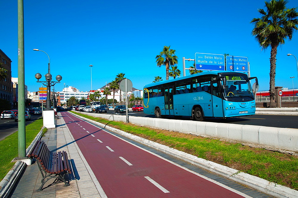 Bicycle lane and street Santa Catalina district Las Palmas de Gran Canaria city Gran Canaria island the Canary Islands Spain Europe