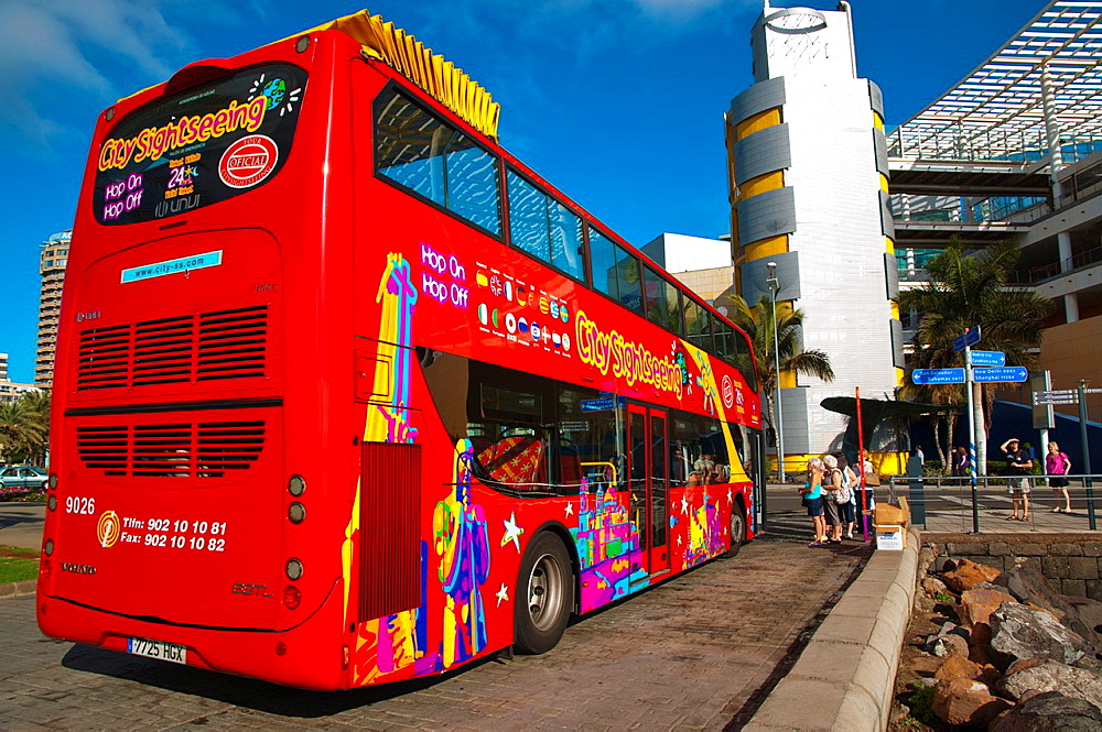 Sightseeing tour bus for tourists at Puerto de la Luz harbour Las Palmas city Gran Canaria island the Canary Islands Spain Europe