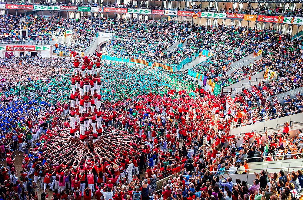 Colla Joves Xiquets de Valls 'Castellers' building human tower, a Catalan tradition Biannual contest bullring Tarragona, Spain