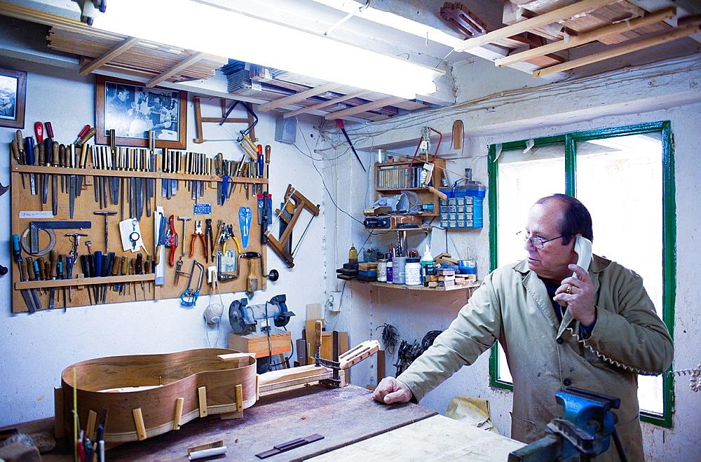 Workshop of Andres Dominguez,luthier,Guitar maker Calle Covadonga 9 Triana quarter,Sevilla,Spain