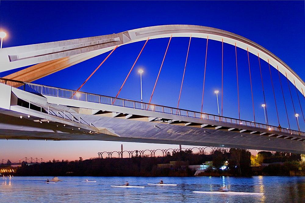 The river Guadalquivir Bridge of La Barqueta Seville, Andalusia, Spain