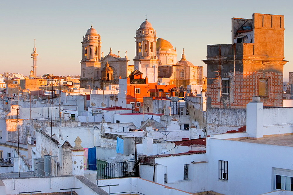 Skyline of Cadiz, Cathedral and viewpoint tower Cadiz, Andalusia, Spain