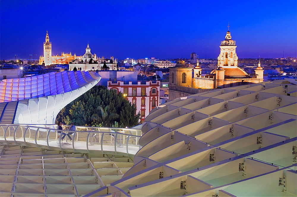 Top of Metropol Parasol, the cathedral and Asuncion church,from Plaza de la Encarnacion,Sevilla,Andalucia,Spain