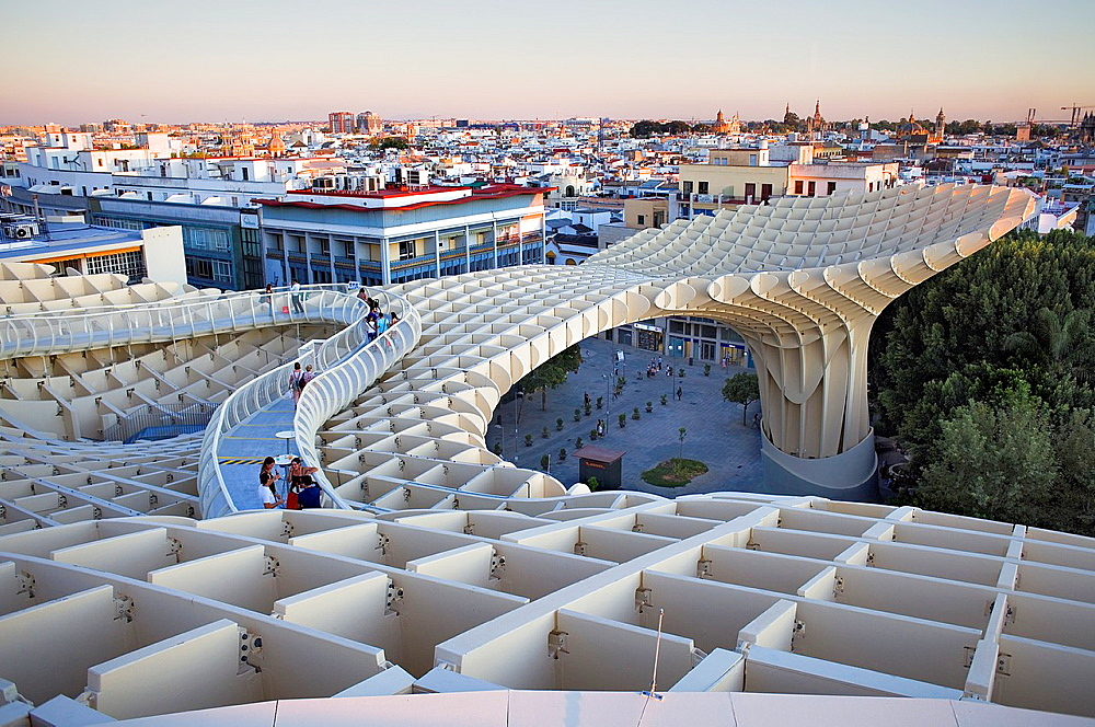 Structure and walkways on top of Metrosol Parasol, in Plaza de la Encarnacion,Sevilla,Andalucia,Spain