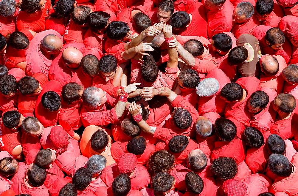 Colla Joves Xiquets de Valls 'Castellers' building human tower, a Catalan tradition Valls Tarragona province, Spain - 817-437057