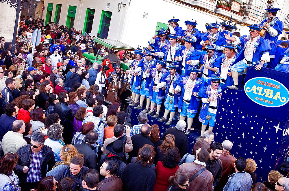 Carnival Parade of choirs in Plaza Libertad or Plaza de Abastos Cadiz, Andalusia, Spain