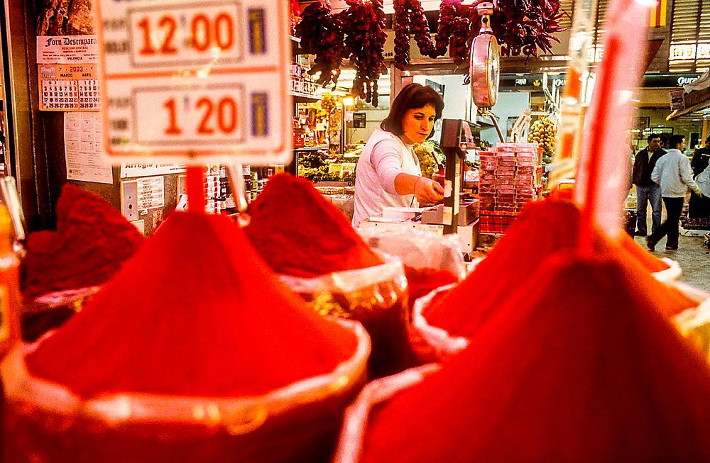 Spice shop, in Central Market,Valencia,Spain