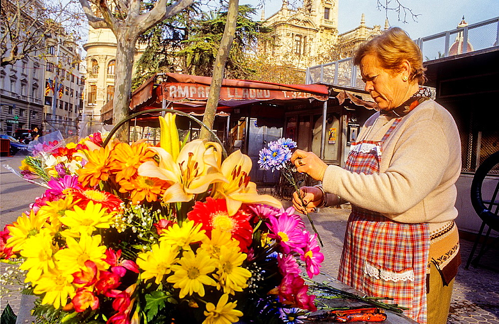 flower stand,Plaza del Ayuntamiento,Valencia,Spain