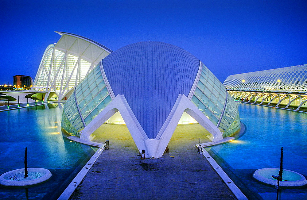 The Hemisferic and in background at left the Principe Felipe Sciences Museum, City of Arts and Sciences, by S Calatrava Valencia Spain