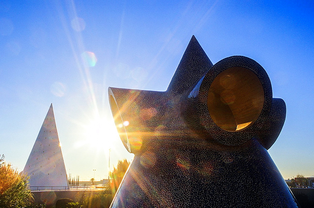 Sculptures at the Entrance to City of Arts and Sciences, by S Calatrava Valencia Spain