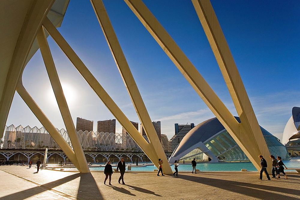 The Hemisferic from Principe Felipe Sciences Museum, City of Arts and Sciences, by S Calatrava Valencia Spain
