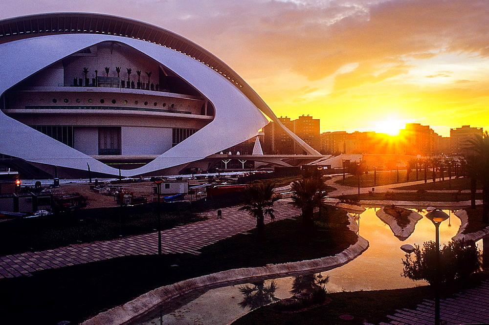 Palacio de las Artes Reina Sofia and park,City of Arts and Sciences by S Calatrava Valencia Spain