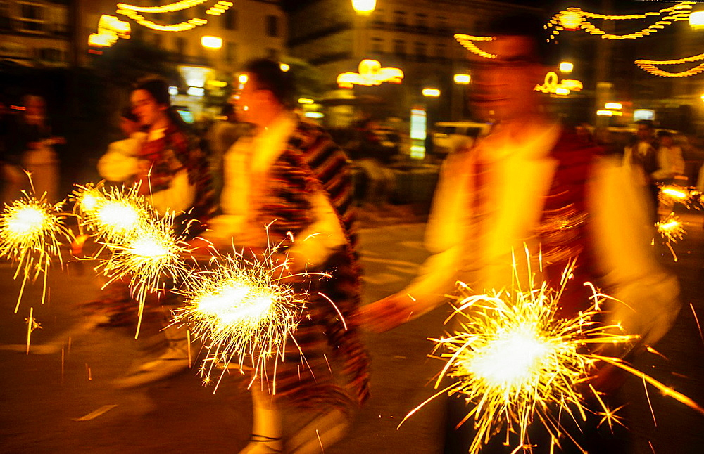Flower offering,Fire works tribute to `Virgen de los desamparados', Fallas festival,San Vicente Martir street,Valencia,Spain