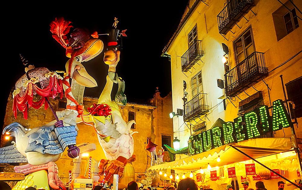 Falla of Plaza del Pilar,Fallas festival,Valencia,Spain