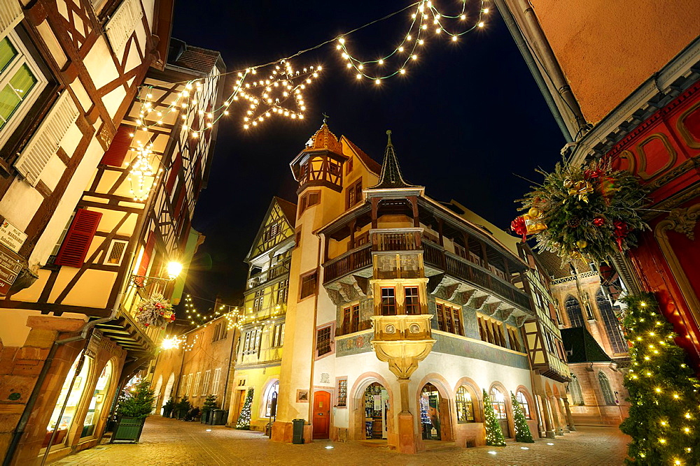 Maison Pfister German Reinaissance with christmas lights at night Colmar Alsace Wine route Haut-Rhin Alsace France