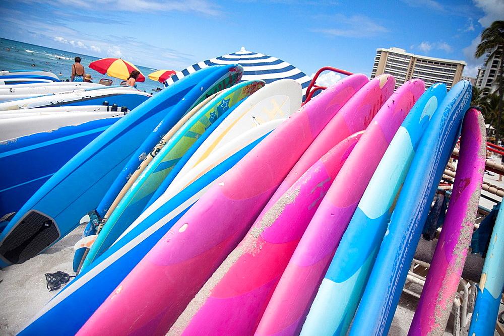 Surfboard renting, Waikiki Beach, Honolulu, Oahu, Hawaii