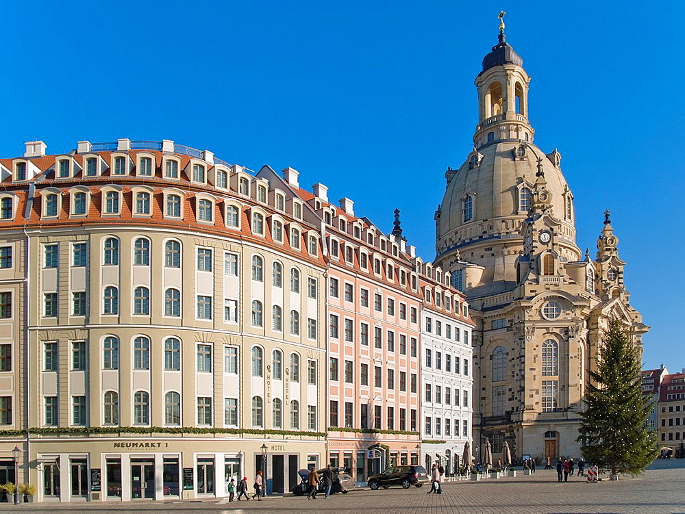 Frauenkirche, viewed from the Neumarkt Place, Dresden, Saxony, Germany, Europe