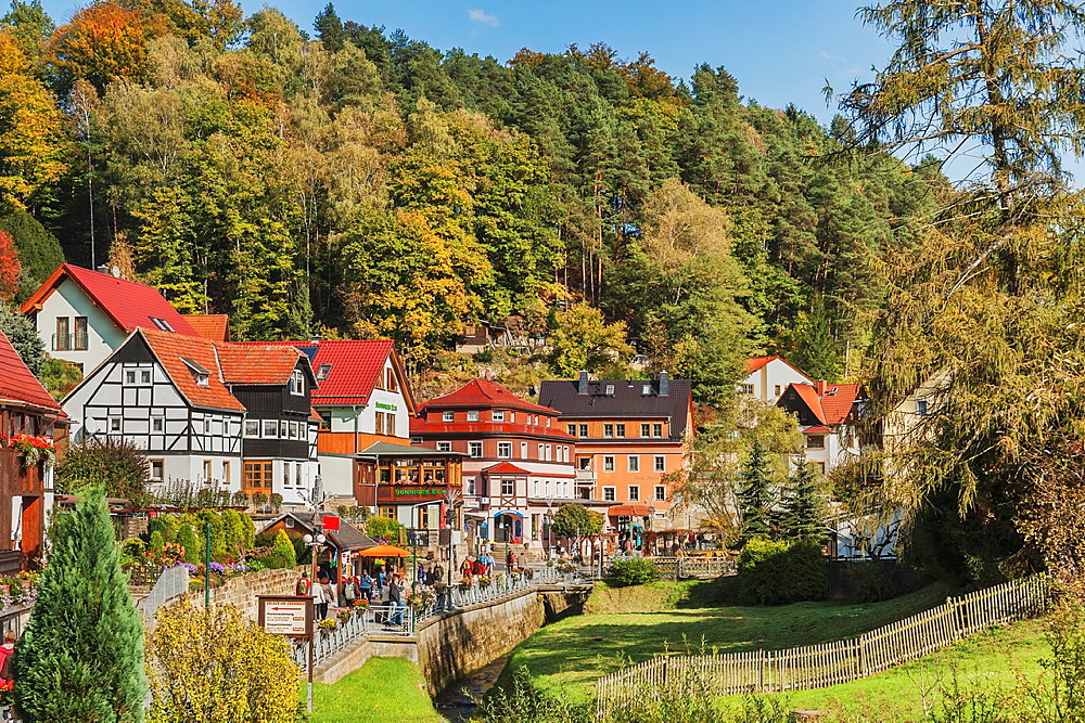 View over Gruenbach river to Lower Rathen Niederrathen a part of the health resort Rathen in the national park Saxon Switzerland , near Dresden, Saxony, Germany, Europe