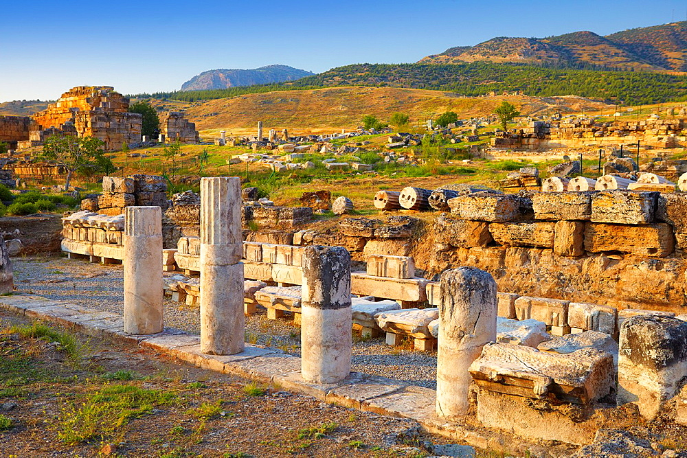 Turkey, Hierapolis, ruins of the ancient city, Marble portico First half of the 1st century AD, Unesco