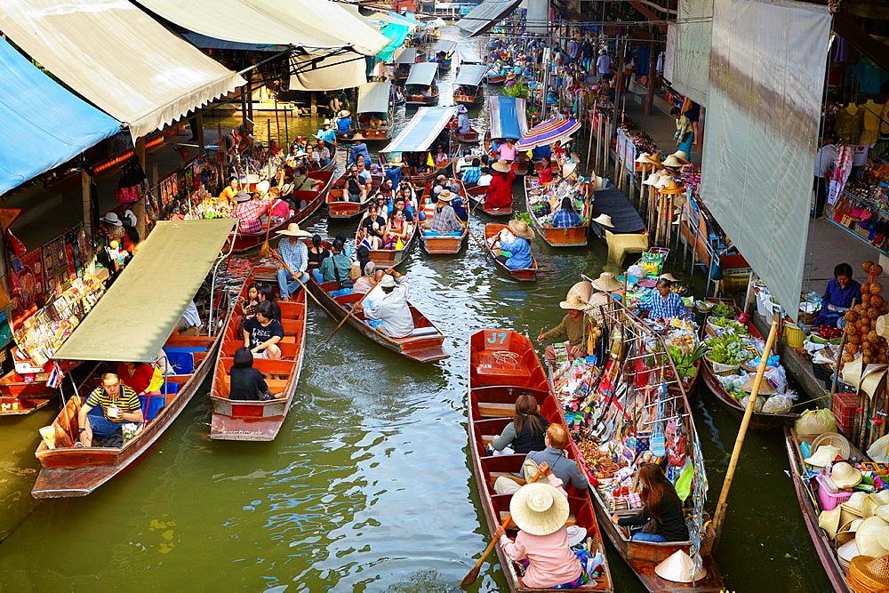 Thailand Floating Market Damnoen Saduak near Bangkok, Bangkok, Thailand - 817-437959