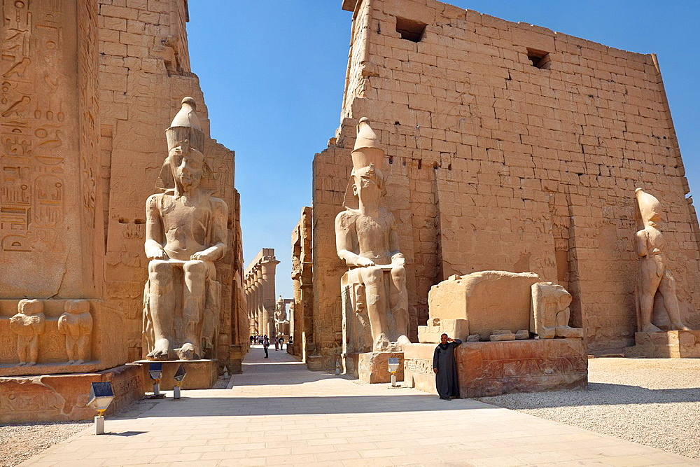 Luxor, Egypt, Colossi of Ramses II at the entrance to Luxor Temple, Upper Egypt, UNESCO
