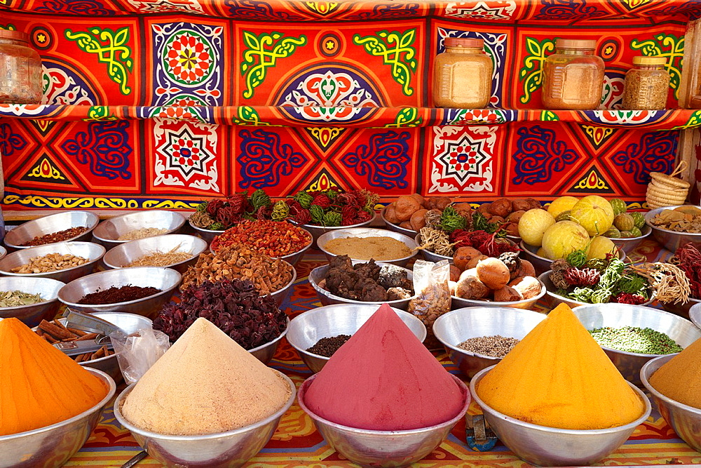 Egypt, Nubian village near Aswan, shop with spices, South Egypt