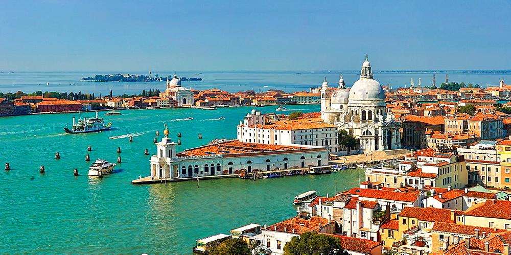 The punta della dogana and Santa Maria della Salute on the Giudecca Canal, Venice Italy